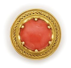 Victorian Era Etruscan Revival Coral And Gold Brooch.