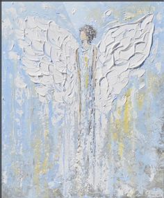 """Angel+Beside+You""+by+Christine+Krainock,+San+Diego,+California+//+Abstract+Angel+Painting+fine+art+print+from+guardian+angel+painting+depicting+heavenly+angel+watching+over+&+protecting.+This+hand-painted,+contemporary,+figurative+piece+possesses+not+only+a+comforting+sense+of+peace+and+calm,+but+with+its'+soothing+shades+of+blue+&+texture...+//+Imagekind.com+--+Buy+stunning+fine+art+prints,+framed+prints+and+canvas+prints+directly+from+"