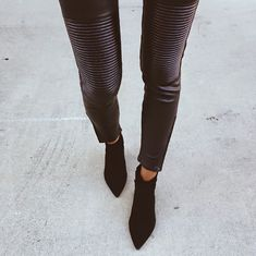 ribbed leather pants