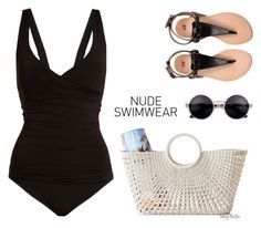 """Including Every Shade of Nude"" by mcheffer ❤ liked on Polyvore featuring Heidi Klein, Mark & Graham and nudeswimwear"