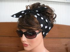 Fabric Headband - Women's Headband - Dolly Bow Retro - Accessories Women - Headwrap in Black with White Polka dots print Bandana Hairstyles, Retro Hairstyles, Hairstyle Ideas, Curly Hair Styles, Natural Hair Styles, Fabric Headbands, Pin Up Hair, Headbands For Women, Hair Today