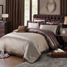 Coffee Cotton Twill Satin Bedding Set Jacquard Wedding 4-Piece Duvet Cover Set