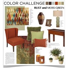 Color Challenge: Moss Green and Rust by jpetersen on Polyvore featuring interior, interiors, interior design, home, home decor, interior decorating, Winsome, Chandra Rugs, Uttermost and Voluspa