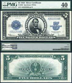1923 $5 Silver Certificate *The Porthole Note* FR-282 PMG EF40 Large Size PEALRR