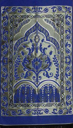BLUE islamic prayer rug - CARPET - Mat Namaz Salat Musallah Tafta islamic gift