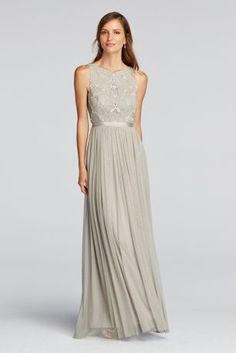 Elegant with flowing detail, you'll adore thissleevelessbeaded gown.   Wonder by Jenny Packham- Exclusively at David's Bridal.  High scoop neck with tulle beaded bodice.  Hand beaded detail ensures that each dress will have a unique quality.  Deep v-back adds dramatic detail to back of gown.  Grosgrain ribbon at waist paired with soft net skirt completes this look.  Fully lined. Back zipper. Imported. Dry clean only. To protect your dress, our Non Woven Garment Bag is a
