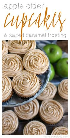 Apple Cider Cupcakes with Salted Caramel Frosting so easy! start with a box mix! Apple Cider Cupcakes with Salted Caramel Frosting is the perfect simple dessert recipe to. Winter Desserts, Köstliche Desserts, Delicious Desserts, French Desserts, Plated Desserts, Fudge Recipes, Frosting Recipes, Apple Recipes, Fall Recipes