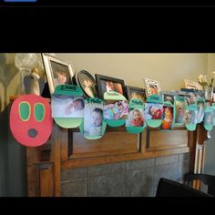 Caterpillar photo line for baby's first year - cute to hang at the 1st Birthday party.