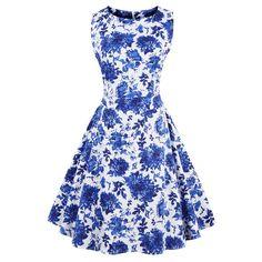 ZAFUL Plus size Women Vintage Dress Retro robe rockabilly summer Audrey  Hepburn Sleeveless Print party dresses Female Vestidos d2e67daf6e36
