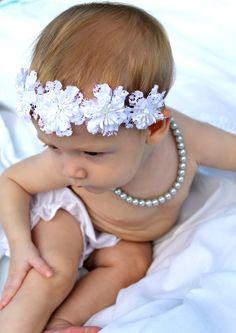 White Baptism Flower Headband crown christening Baby by verosjoy