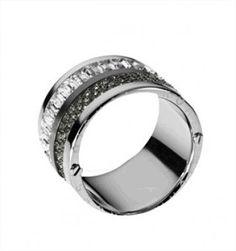 Anel Michael Kors Women's Multi Stone Pave Barrel Ring Silver Color MKJ19083 #Anel #Michael Kors