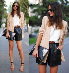 Short de Couro #streetstyle #moda #fashion #look #looks #roupa #clothes #couro #shorts #shoes