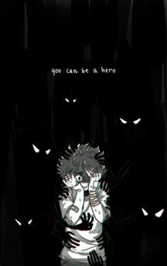 """You can be a hero, sad, crying, text, Midoriya """"Deku"""" Izuku, eyes, hands, shadows; My Hero Academia"""