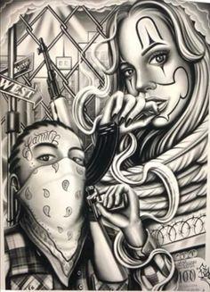 Chicano Art Tattoos, Chicano Drawings, Badass Drawings, Gangsta Tattoos, Body Art Tattoos, Arte Cholo, Cholo Art, Lowrider Tattoo, Lowrider Art