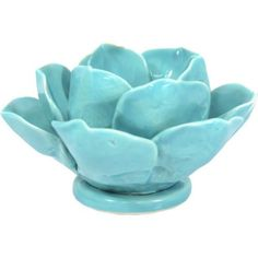 Better Homes and Gardens Lotus Flower Teal Candle Holder