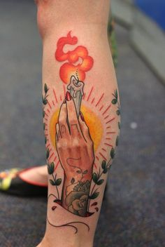 hand holding burning candle   mix of realistic and traditional styles