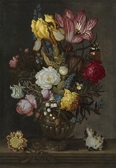 A. Bosschaert - famous for his delicate and classic 'Flower Paintings', here he has used a collection of flowers which harmoniously balance the primary colours in a striking still life