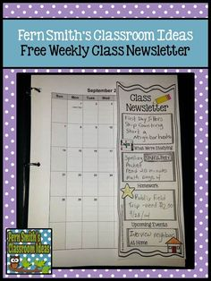 Fern Smith's FREE Parent Weekly Class Newsletter #ClassroomFreebies