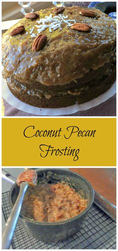 Coconut Pecan Frosting ~ the most delicious frosting. It's rich, decadent, sweet and has texture and amazing flavor.