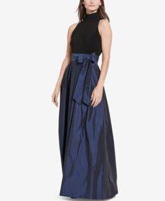 Lauren Ralph Lauren Jersey-Taffeta Gown | macys.com