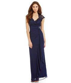 Navy:Marina Cap-Sleeve Lace-Top Gown