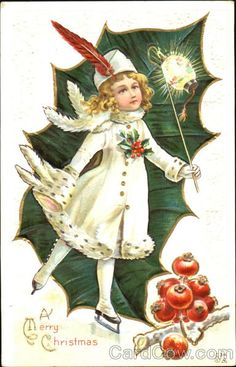 Skating by to wish your a very merry Christmas. #vintage #Christmas #cards