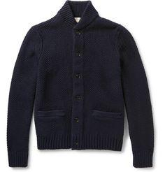 Club Monaco Leather Elbow Patch Cotton Cardigan | MR PORTER