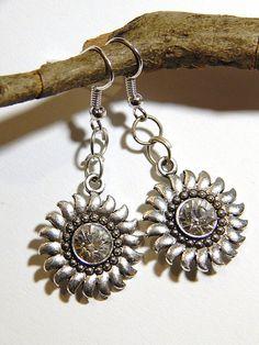 Sunflower Earrings  Silver With Rhinestones by MURPHYSTREASURES2, $12.95