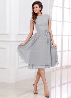 A-Line/Princess Scoop Neck Knee-Length Chiffon Bridesmaid Dress With Bow(s) (007017303) - JJsHouse