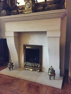 Fine detailed carving on Yorkstone sandstone fireplace surround