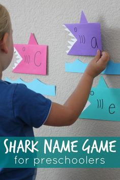Shark Name Game for Preschoolers. Creative way to help kids learn how to spell their name.