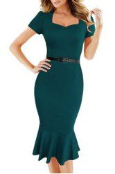 Attractive Green Sweetheart Neck Bodycon Fishtail Dress For Women