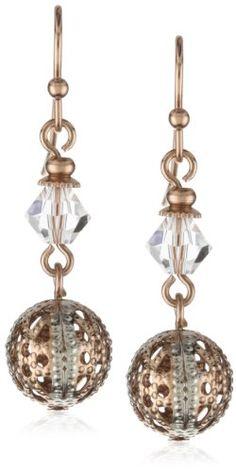 1928 Jewelry Pink Champagne Dual Drop Earrings - 1928, Champagne, Drop, Dual, Earrings., Jewelry, Pink http://designerjewelrygalleria.com/1928-jewelry/1928-jewelry-pink-champagne-dual-drop-earrings/