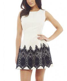 Another great find on #zulily! White & Black Crochet Skater Dress #zulilyfinds