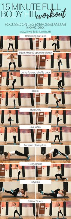 15 minute full body HIIT workout focusing on ab exercises and leg exercises! You can do this as an at home workout or anywhere else! This full body hiit workout requires no equipment! Just your beautiful body and hard work!