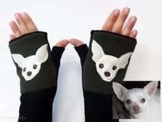 #Personalized #Chihuahua #Gift. Fingerless Gloves with Pockets for Dog Lovers Customized