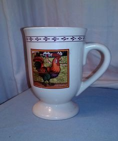 Farm Rooster On Guard Coffee/Tea Mug by B.I. Inc. 10oz. Footed #BIInc