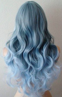 Items similar to Pastel Blue Ombre wig. long curly blue wig with side bangs. on Etsy Curly Blue Hair, Curly Hair Styles, Baby Blue Hair, Blonde Hair, Emo Hair, Green Hair, Purple Hair, Smokey Blue Hair, Purple Tips