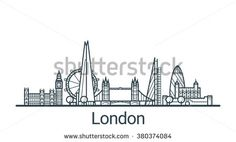 Linear banner of London city. All buildings - customizable different objects with background fill, so you can change composition for your project. Line art. City Of London, London Sketch, City Sketch, London Skyline, Vintage London, London Travel, Capital City, Gradient Color, Line Art