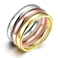 * Penny Deals * - HMILYDYK Gold Plating Stainless Steel Womens Mens Rings 3 Pcs A Set Wedding Band Eternity Size 6 - 9 * Want additional info? Click on the image.