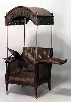 Distinctive 19th c. Hooded Convertible Armchair   From a unique collection of antique and modern armchairs at http://www.1stdibs.com/furniture/seating/armchairs/
