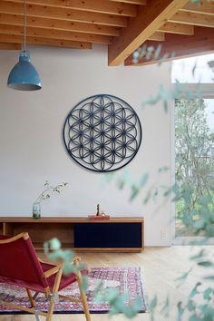 Flower Of Life Sacred Geometry Mandala Blue Yoga Studio Design, Flower Of Life Symbol, Deco Zen, Flower Studio, Interior Decorating, Interior Design, Cozy House, Sacred Geometry, Yoga Inspiration