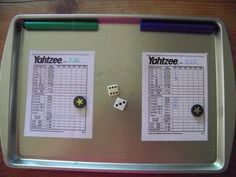 Yahtzee is easy with lamenated sheets, markers and dice. Perfect for a train or a road trip.