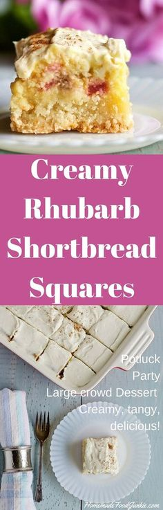 Watch it - Watch - Ideas of Watch - Creamy Rhubarb Shortbread Squares. Watch it vanish off the plates! Potluck Desserts, Rhubarb Desserts, Potluck Dishes, Rhubarb Recipes, Best Dessert Recipes, Easy Desserts, Sweet Recipes, Delicious Desserts, Yummy Food