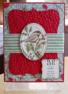 SU Top Note, Petals a Plenty and Designer Frames E F, layout Card Making Inspiration, Making Ideas, Xmas Cards, Holiday Cards, Christmas Bird, Bird Cards, Scrapbook Cards, Scrapbooking, Winter Cards