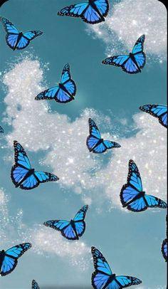 Blue Glitter Butterfly | Butterfly Wallpaper Iphone, Blue