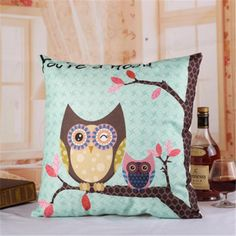 Cartoon cute owl linen pillow for couch creative animal square pillow