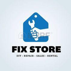 logotipo inmobiliaria: Fix logotipo de la tienda, casa de aperos logo comercial Vectores