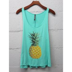 Pineapple Tank Top (Mint) ($18) ❤ liked on Polyvore featuring tops, grey, women's clothing, racerback tank, mint tank top, vintage tank, pineapple tank and racerback tank top