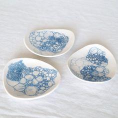 Pebble shape soap dish with cobalt bubbles by VanillaKiln. #porcelain, #ceramic…